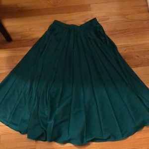 H&M Satin, Silk Midi Skirt - Green